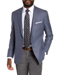 Hart Schaffner Marx Classic Fit Solid Wool Blazer - Blue
