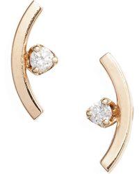 Zoe Chicco Diamond Curved Bar Stud Earrings - Metallic
