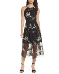 Vince Camuto - Embroidered Mesh Midi Dress - Lyst