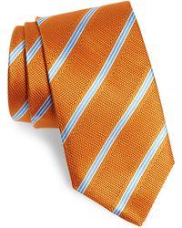 David Donahue Stripe Silk Tie - Orange