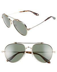 Givenchy - 58mm Polarized Aviator Sunglasses - - Lyst
