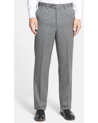 Berle - Self Sizer Waist Flat Front Wool Gabardine Trousers - Lyst