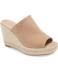 Karl Lagerfeld Espadrille Wedge Sandal - Brown