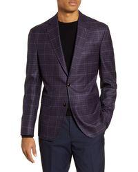 Ted Baker Konan Trim Fit Plaid Wool Sport Coat - Purple