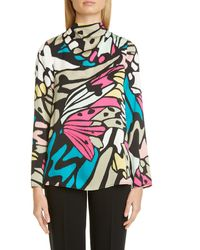 St. John Monarch Butterfly Print Stretch Silk Blouse - Multicolor