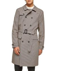 TOPMAN - Houndstooth Trench Coat - Lyst