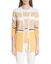 St. John - Stripe Jersey Knit Cardigan - Lyst