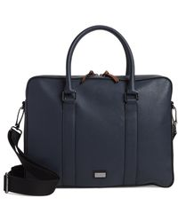 Ted Baker Textured Faux Leather Document Briefcase - Blue