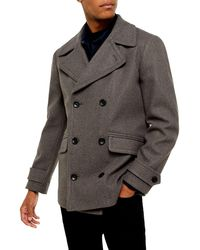 TOPMAN Double Breasted Peacoat - Gray