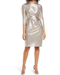 Vince Camuto Side Ruched Cocktail Dress - Metallic