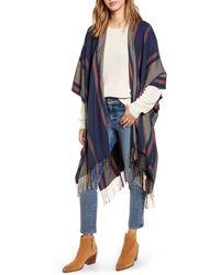 Madewell Variegated Stripe Poncho - Blue