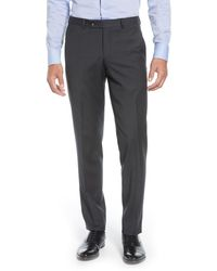 Ted Baker Jerome Flat Front Solid Wool Dress Pants - Blue