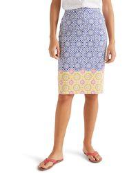 Boden Gabriella Stretch Cotton Pencil Skirt - Blue