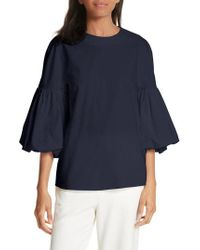 Tibi - Watts Balloon Sleeve Oxford Top - Lyst