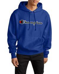 Champion - Reverse Weave Chenille Logo Hoodie - Lyst