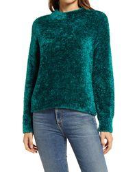Lou & Grey Velvet Eyelash Sweater - Green