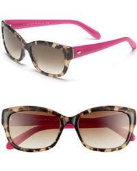 8852cc240636a Kate Spade - Kate Spade  johanna  53mm Retro Sunglasses - Camel Tortoise -  Lyst
