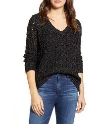 Caslon Caslon Brushed V-neck Sweater - Black