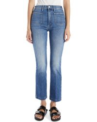 Mother The Hustler Patch Pockets Ankle Bootcut Jeans - Blue