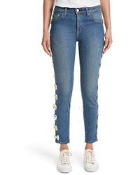 Tu Es Mon Tresor | Grosgrain Bow Embellished Jeans | Lyst