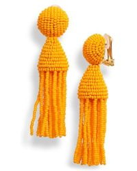 Oscar de la Renta - Short Beaded Tassel Drop Earrings - Lyst