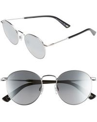 Web - 51mm Round Metal Sunglasses - Shiny Palladium/ Smoke Mirror - Lyst