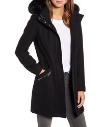 Kenneth Cole Wool Blend Twill Hooded Coat With Faux Fur Trim - Black