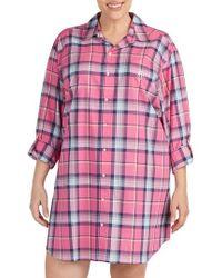 Lauren by Ralph Lauren - Plaid Sleep Shirt - Lyst