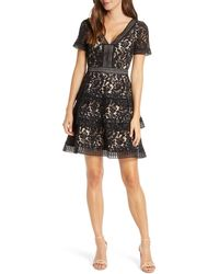 Eliza J - Tiered Lace Fit & Flare Cocktail Dress - Lyst