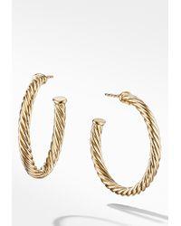 David Yurman 18k Yellow Gold Cable Hoop Earrings - Metallic