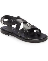 TOPSHOP Paige Black Leather Sandals