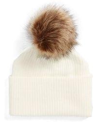 Sole Society - Faux Fur Pompom Beanie - Lyst