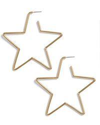Kate Spade - Scrunched Scallops Star Large Hoop Earrings - Lyst