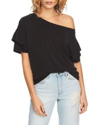1.STATE - Ruffle Sleeve One-shoulder Tee - Lyst