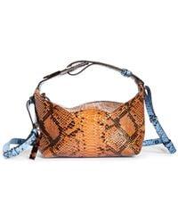 Ganni Slouchy Snake Embossed Leather Crossbody Bag - Blue