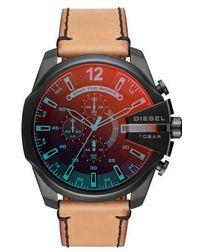DIESEL - Diesel Mega Chief Chronograph Leather Strap Watch - Lyst
