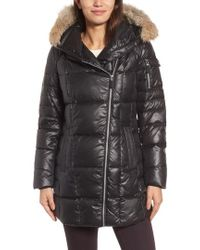 Andrew Marc   Down & Feather Fill Coat With Genuine Coyote Fur   Lyst