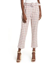 English Factory Gingham Check Belted Pants - Multicolour