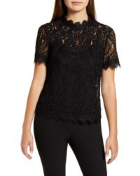 Anne Klein Scallop Corded Lace Mock Neck Short Sleeve Top - Black