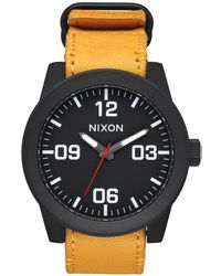 Nixon - 'the Corporal' Leather Strap Watch - Lyst