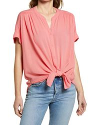 Caslon Caslon Relaxed Button Front Top - Pink