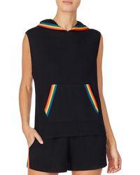 Room Service Rainbow Trim Sleeveless Hoodie - Black