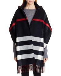 Burberry Helene Check Wool & Cashmere Hooded Wrap - Black