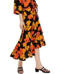 TOPSHOP - Printed Midi Skirt - Lyst