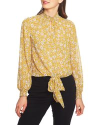 1.STATE - Wild Blooms Smocked Neck Blouse - Lyst