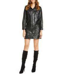 FRAME Leather Cargo Long Sleeve Minidress - Black