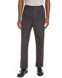 Lemaire Pleated Drawstring Straight Leg Pants - Grey