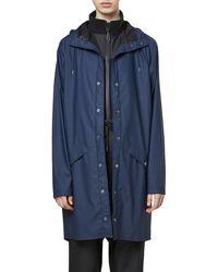Rains Waterproof Hooded Long Rain Jacket - Blue