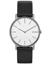 Skagen - Signatur Leather Strap Watch - Lyst