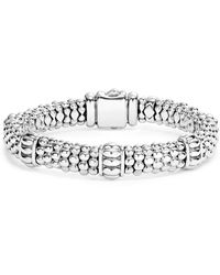 Lagos Fluted Station Caviar Rope Bracelet - Metallic